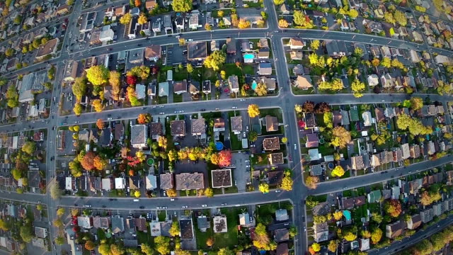 Aerial View of a Common Suburb District video