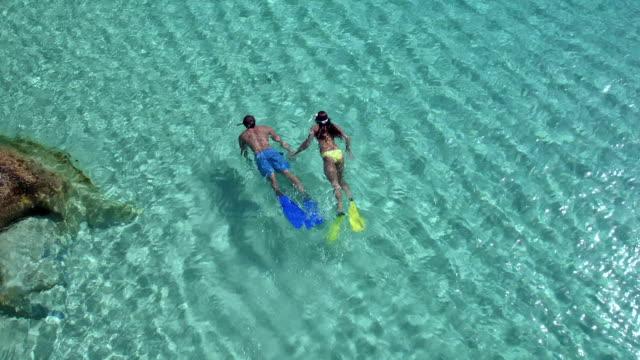 stockvideo's en b-roll-footage met luchtfoto van een paar snorkelen uit een tropisch strand - caraïbische zee