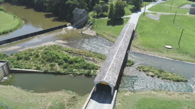 Aerial View of a Covered Bridge in Pennsylvania Countryside