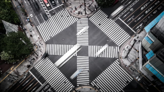 T/L WS HA Aerial View of a Crossing in Ginza / Tokyo, Japan video