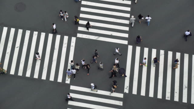 Aerial View of a Crossing in Ginza video