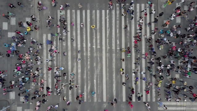 aerial view of a crossing in mexico city - tłum filmów i materiałów b-roll