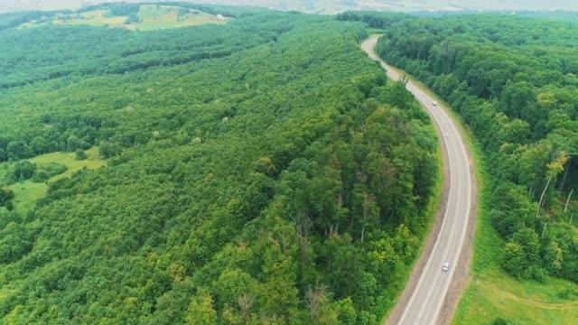 車が通過する曲がりくねった曲がりくねった道の航空写真。4k - 曲線点の映像素材/bロール