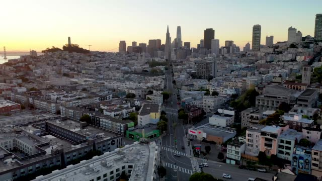 Aerial View of a Deserted Columbus Avenue in San Francisco