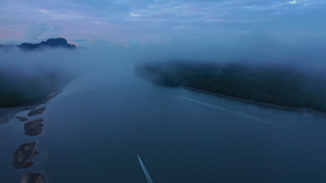 aerial view of a forest on a misty morning at Phang-nga Bay