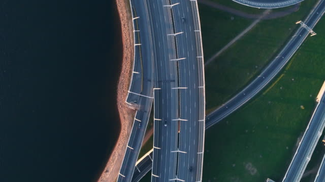 Aerial view of a freeway intersection highways Aerial view of a freeway intersection highways treedeo speed way stock videos & royalty-free footage