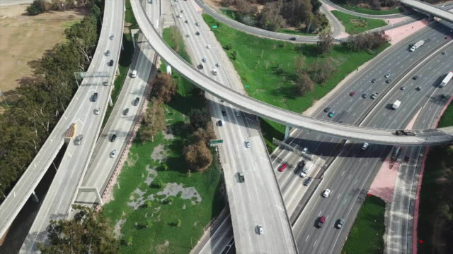 Aerial view of a freeway intersection in Los Angeles video