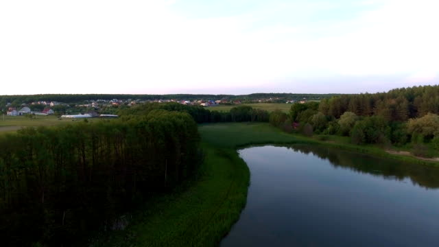 Aerial view of a fresh water lake video drone - vídeo
