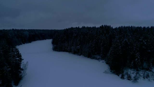 estonya lahemaa milli parkı 'nda dondurulmuş bir gölün havadan görünümü. - estonya stok videoları ve detay görüntü çekimi