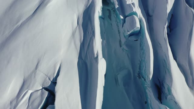 Aerial view of a glacier in Chugach National Forest, Alaska