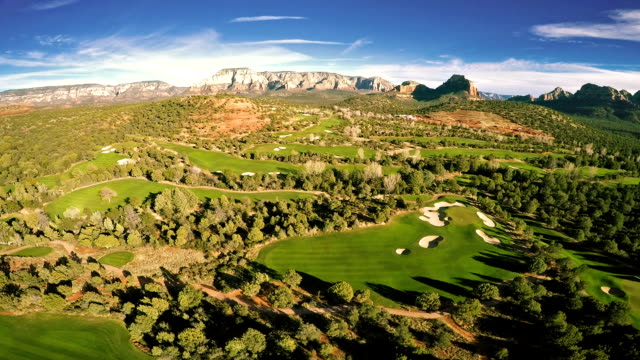 Aerial view of a golf course video