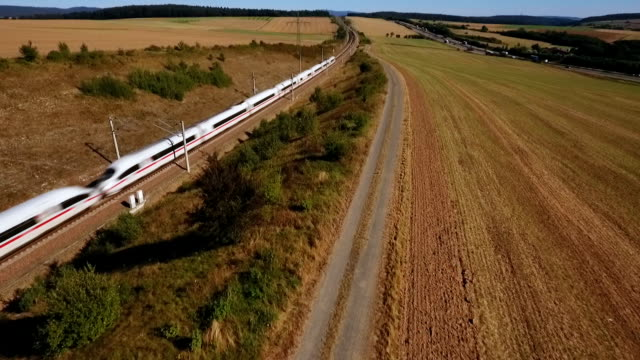 aerial view of a highspeed train - поезд стоковые видео и кадры b-roll