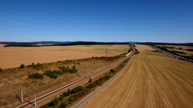 Aerial view of a highspeed train video