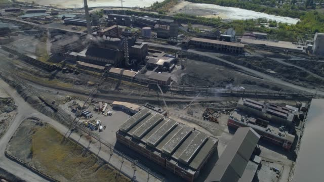 Aerial view of a huge steel mill complex