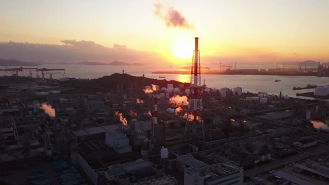 Aerial view of a Japanese petrochemical plant video