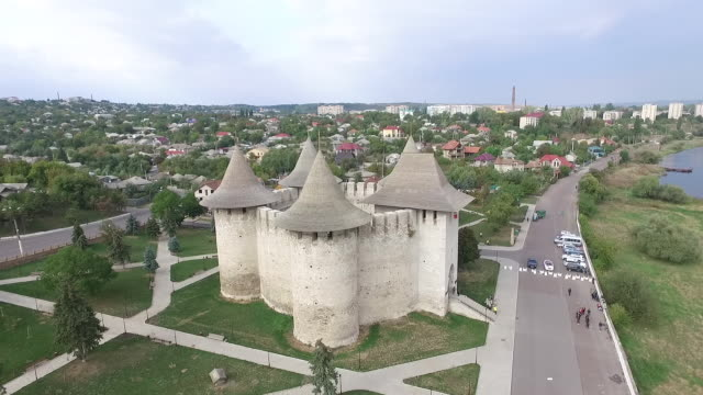 aerial view of a medieval fortress in central europe. - молдавия стоковые видео и кадры b-roll