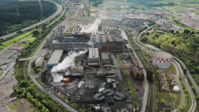Aerial view of a metallurgical plant.
