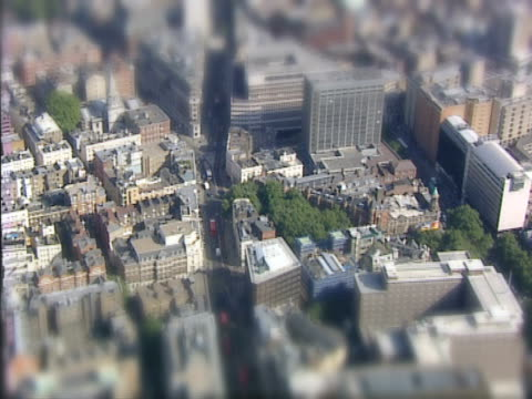 Aerial view of a miniature city. NTSC, PAL video