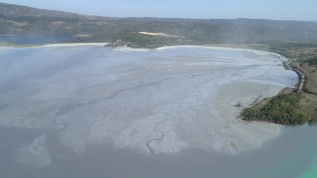 Aerial view of a mining waste disposal and the ecological damage