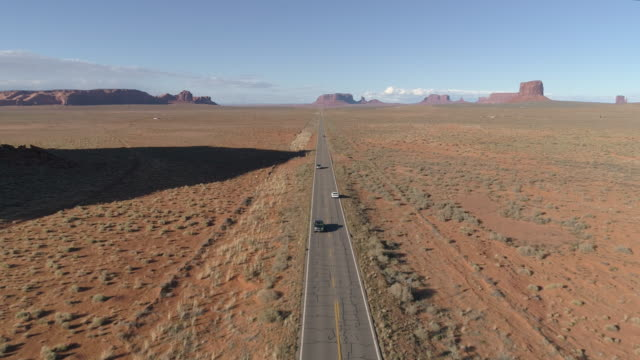 Aerial view of a national road in Monument Valley