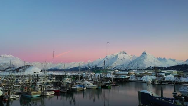 Aerial view of a port in Valdez, Alaska