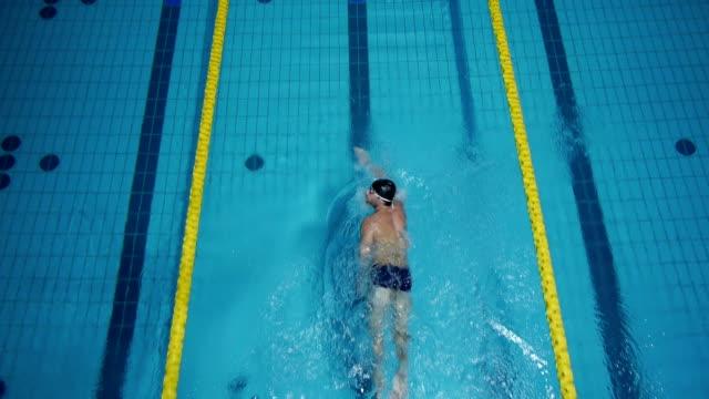 空から見たプロの水泳選手 - 水泳点の映像素材/bロール