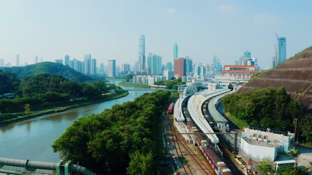 Aerial view of a railway in Sheung Shui, Hong Kong