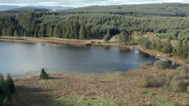 Aerial view of a remote Scottish loch in south west Scotland 4K drone footage of a remote loch in Dumfries and Galloway galloway scotland stock videos & royalty-free footage