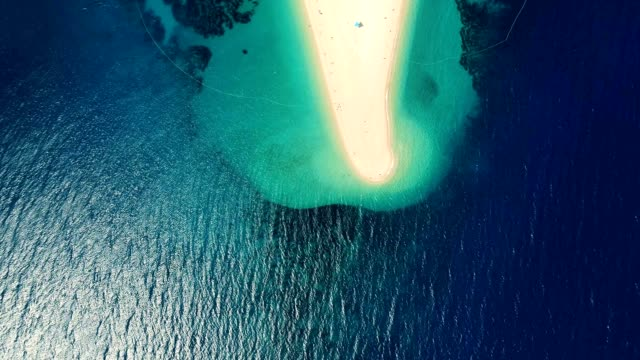 Aerial view of a sandy beach on the island of Brac, Croatia, Zlatni Rat video