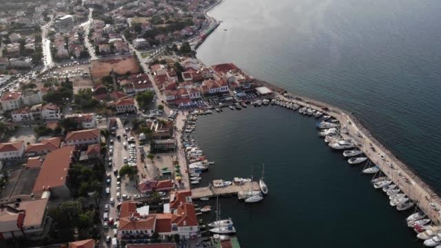 Aerial View of a Small Town at Seashore Location; Urla Izmir, Turkey aegean turkey stock videos & royalty-free footage