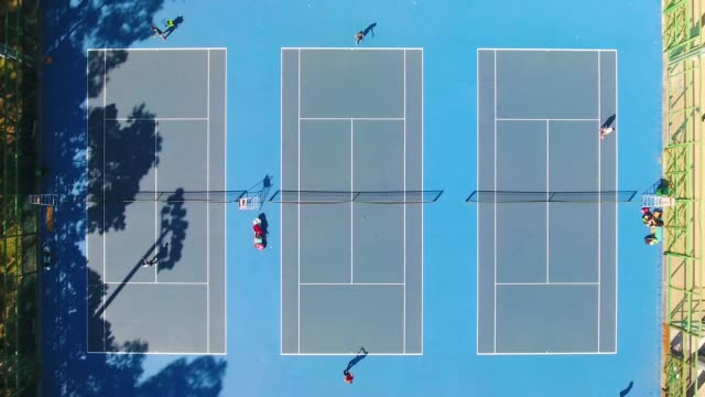 Aerial view of a tennis courts in China video