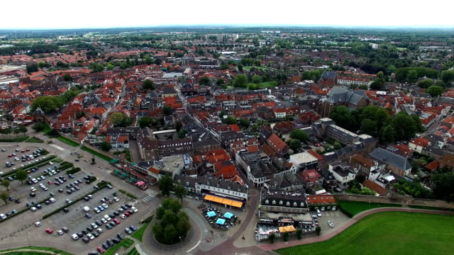 Aerial view of a town near a lake (Harderwijk, The Netherlands) Aerial view of a typical Dutch town netherlands stock videos & royalty-free footage