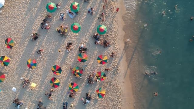 vídeos de stock, filmes e b-roll de vista aérea de uma praia tropical, pessoas relaxantes - nordeste