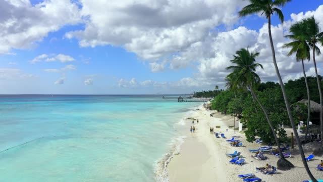 Luftaufnahme eines wunderschönen tropischen Strandes in La Romana, Dominikanische Republik – Video