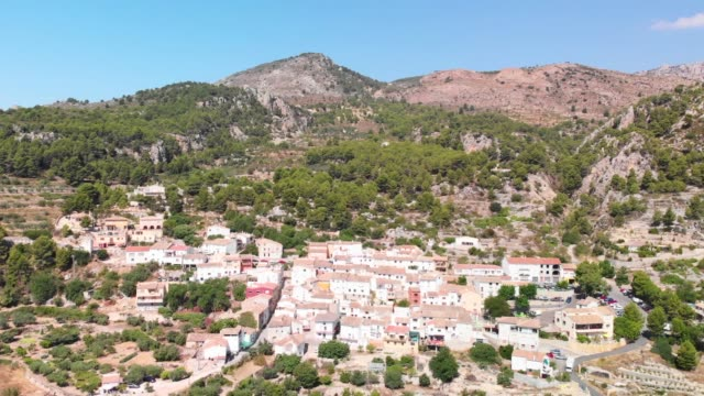 Aerial view of Abdet little village in Alicante mountains, Spain