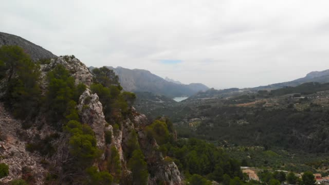 Aerial view of Abdet small village and Guadalest Valley in Alicante, Spain