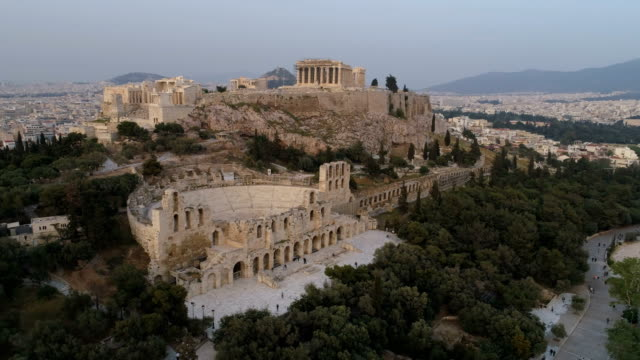 Aerial view of Acropolis of Athens ancient citadel in Greece video