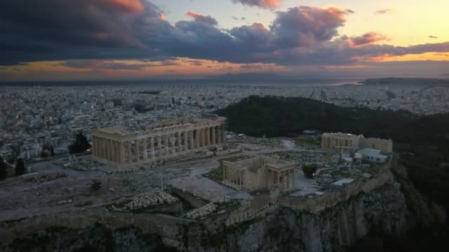 Aerial view of Acropolis of Athens at sunset video