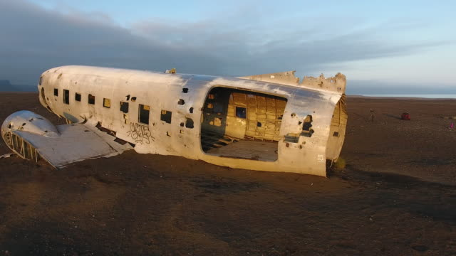 Aerial view of Airplane DС-3 crashed on Iceland beach - video