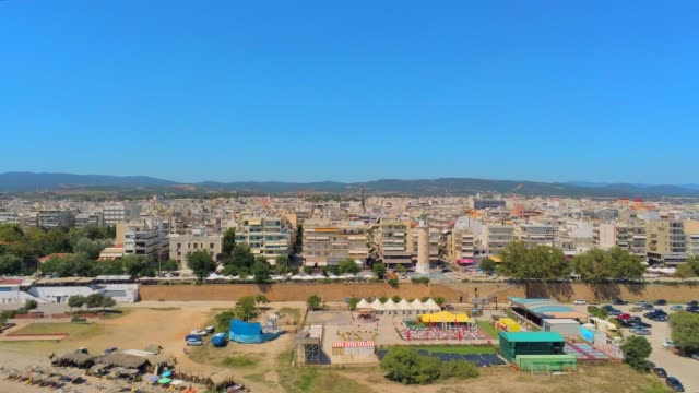 Aerial view of Alexandroupolis, the northern Greek city of Thrace with its lighthouse at summer video