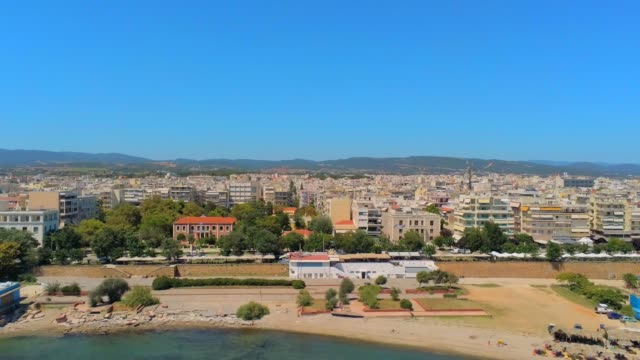 Aerial view of Alexandroupolis, the northern Greek city of Thrace with its lighthouse and the harbour at summer video