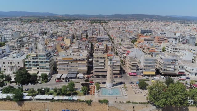 HDR Aerial view of Alexandroupolis, the northern Greek city of Thrace with its lighthouse and the harbour at summer video