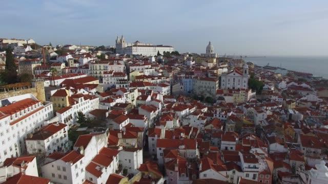 vídeos de stock e filmes b-roll de aerial view of alfama, lisbon, portugal - lisboa