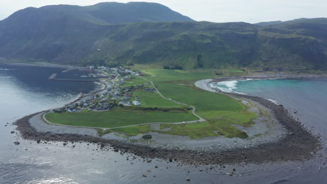 Aerial view of Alnes lighthouse in Alesund in Norway