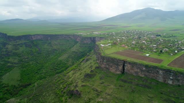 Aerial view of alpine Armenian village video