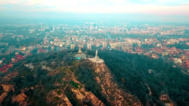 Aerial View of Alyosha Monument / Plovdiv - Bulgaria Aerial View of Alyosha Monument / Plovdiv - Bulgaria - 50 FPS Video russian culture stock videos & royalty-free footage