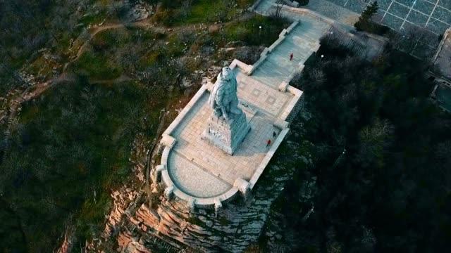 aerial view of alyosha monument / plovdiv - bulgaria - bułgaria filmów i materiałów b-roll