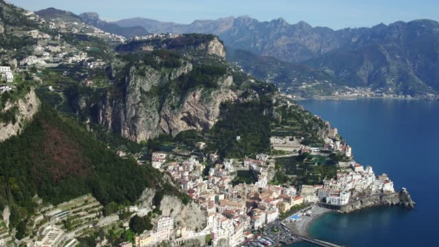 aerial view of Amalfi coastline in Italy