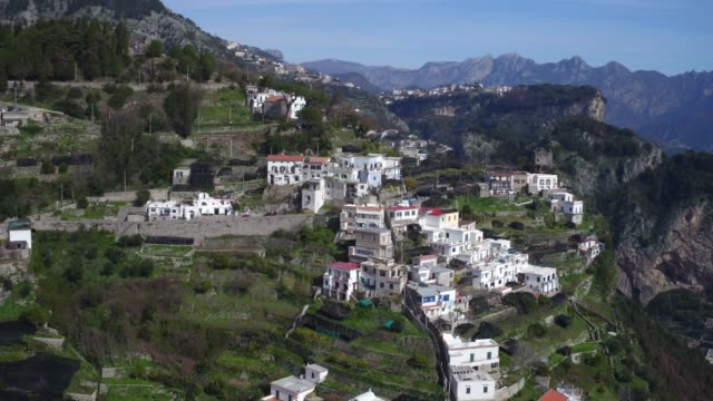 aerial view of Amalfi coastline in Italy aerial view of Amalfi coastline in Italy cliff jumping stock videos & royalty-free footage