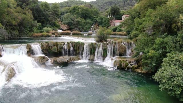 Aerial view of amazing Skradinski buk waterfall in Krka National Park, Croatia